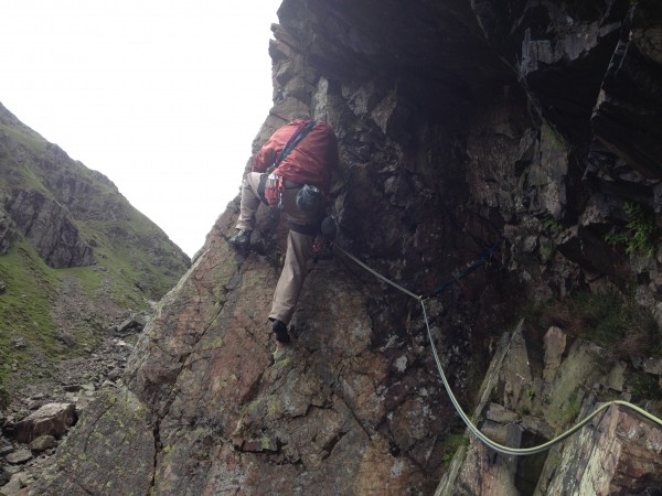 Rick on the crux of Slip Knot on Langdale's White Ghyll