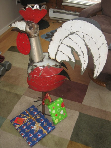 Rudy the rooster and Secret Santa gifts