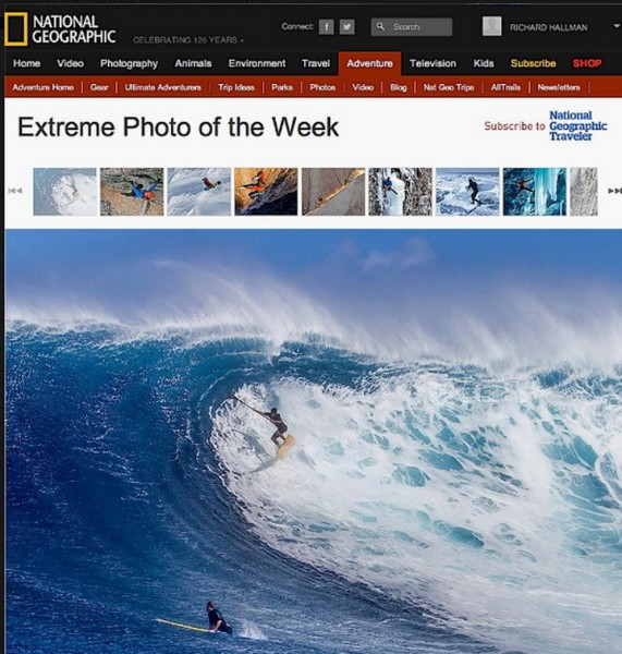 Photo from National Geographic of Kai Lenny at Jaws shot by Richard Ha...