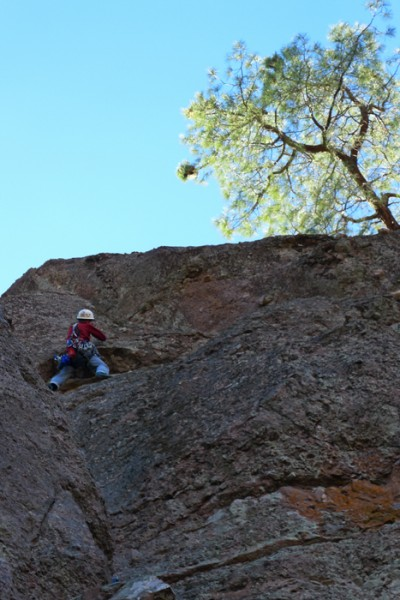 "Gary Carpenter leading the traverse on ""Lost Horizon"" 5.8 Pinnacles, C..."
