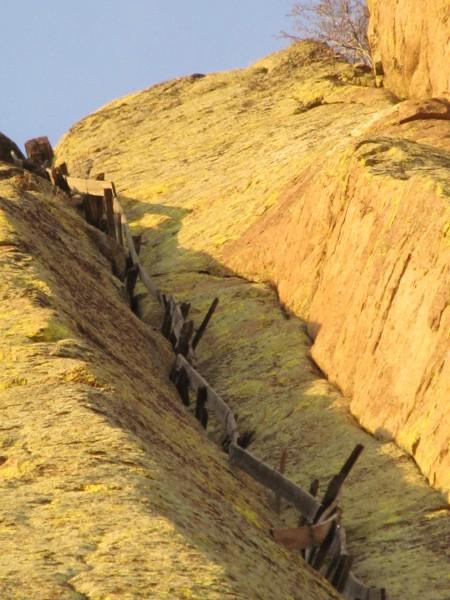 Wooden Plank Ladder Devils Tower ~ Hardest aid climb prior to supertopo rock