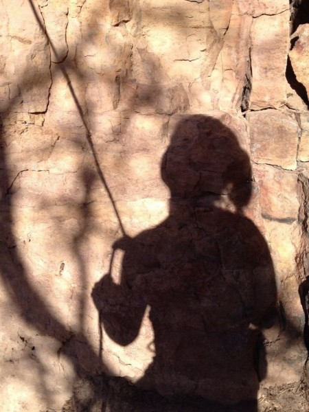 My shadowy belayer.
