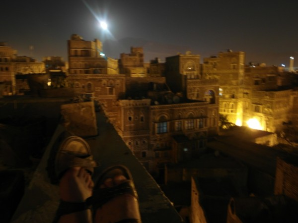 Sana'a the capital city by moonlight.