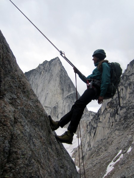 Katrina on a scenic rappel off of Central Crescent Tower. Bugaboo Spir...