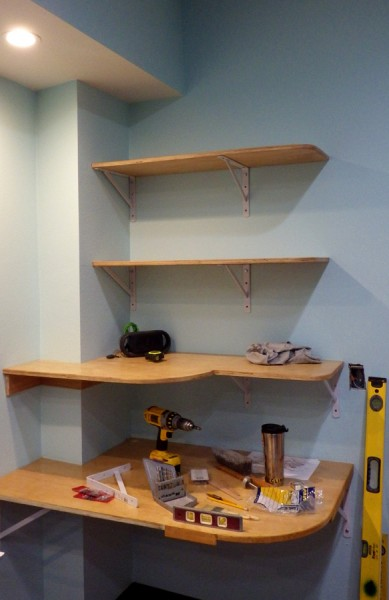 Desk and shelves in process