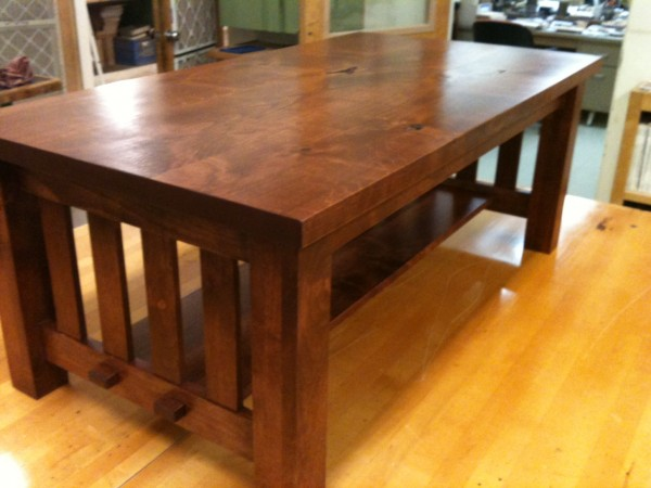Craftsman style coffee table in alder.