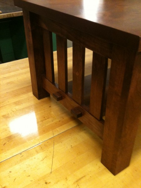 Craftsman style with haunched through mortise and tenon shelf.
