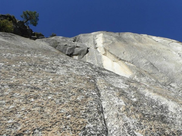 Pitch 9 ends up and right at the base of the light colored rock with t...