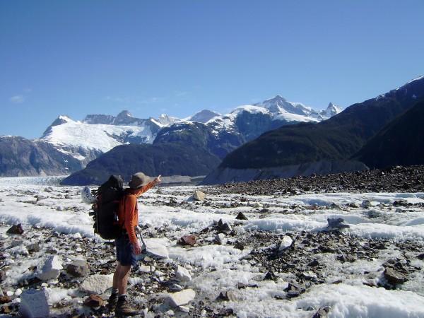 Thom Englebach on the Exploradores Glacier 500 feet above sea level.