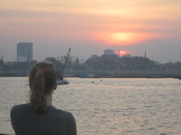 Phnom Penh from the Mekong on our last night, 1/19/14