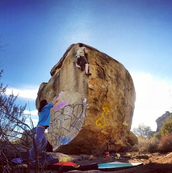Spencer Josif climbing Yabo Arête