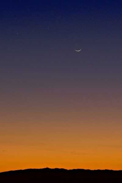 New moon setting over the Pleasanton Ridge from Livermore January 31st...