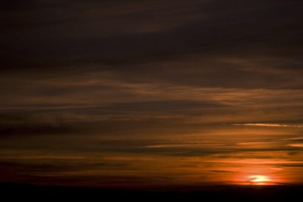 sunset over the Pleasanton Ridge on January 1, 2014
