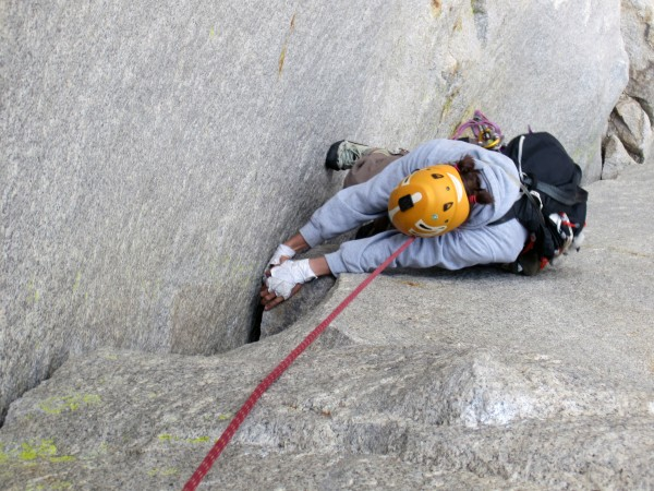 Steph following the fun 5.8 (more like 5.5) corner on P2 of th...