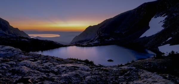 Upper Sardine an Mono Lakes just before sunrise