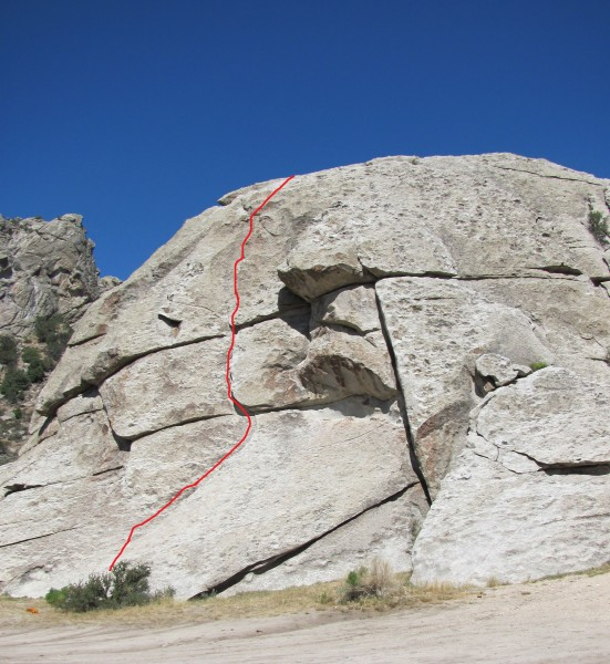 Flake Route, YDS 5.5. No fixed pro, but great crack for nuts and cams....
