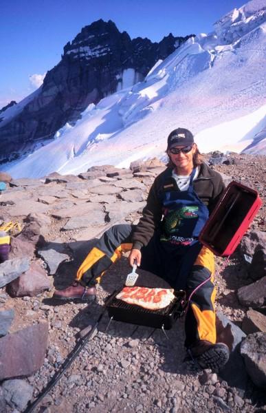 Chad grilling salmon at Camp Schurman - Mount Rainier - Emmons Glacier...