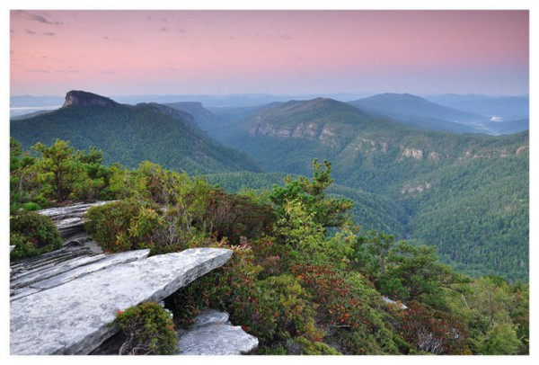 Linville Gorge, NC, taken from Hawksbill, including Table Rock, Gold C...