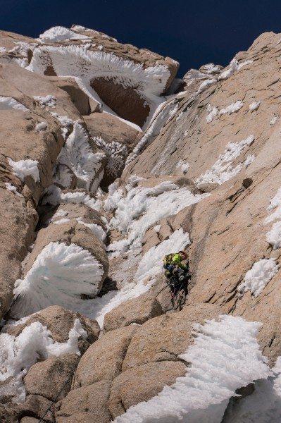 Kevin Prince climbing the first pitch of the headwall above the Gorett...