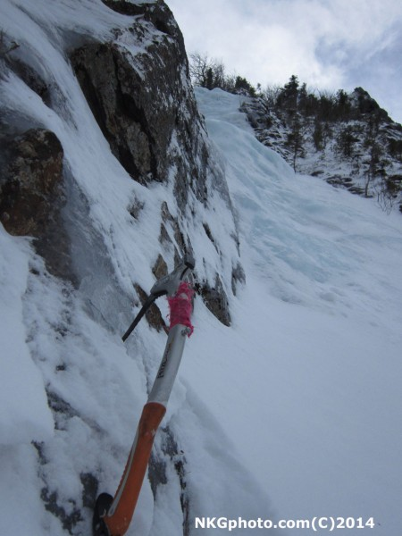 scary looking snow slab about half way up that I did not want to solo ...