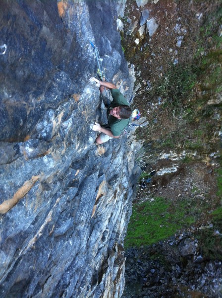 Bill Price on Remember 9.11. &amp;#40;5.10+&amp;#41;. Auburn Quarry, CA. <br/>