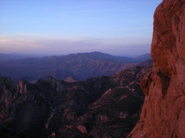 near sunset on Babo descent