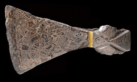 Silver inlaid axehead in the Mammen style, (900). From Bjerrin...