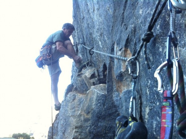 bill price, lacing up for pitch 2 on the twin towers at auburn quarry,...
