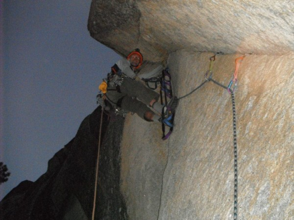 Losing light just past the 1st tricky section of pitch 10.
