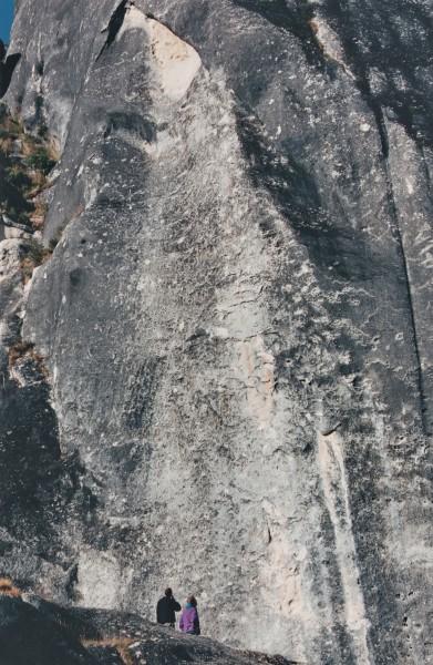 A vast limestone wall, Castle Hill.