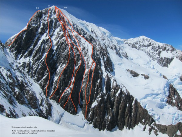 "The Sheila Face of Mt Cook. The Sorenson/ Allen variation is marked ""C..."