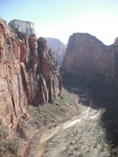 Down-canyon from Spaceshot. Angel's Landing is on the right.
