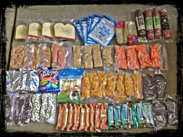Food for Tribal Dawn: 4 PB&Honey sandwiches, 5 bags of Salmon, 2 tins ...