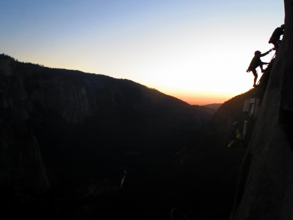 Climbing hauling at dusk on the Nose