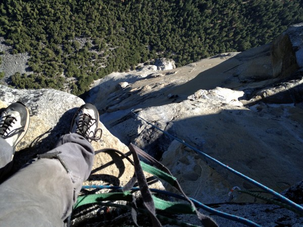 Ledge at the end of Pitch 12 and the end of climbing, Tribal Rite