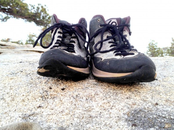 These shoes looked relatively new when the climb started.