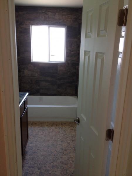 Shower tile, floor tile, vanity, door, and trim.