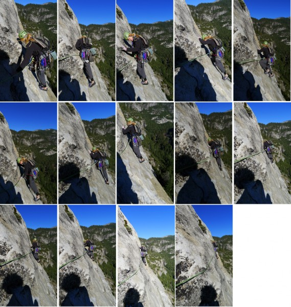 Linda Jarit leads the 5.8 crux of Edge of Absurdity, frames 9 and 10