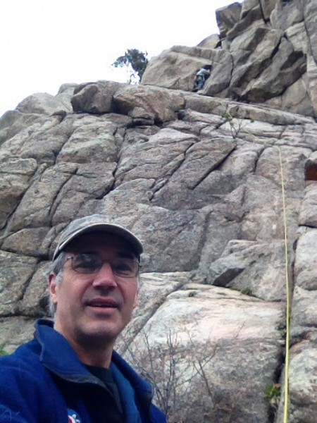 Don't tell Jim that his pathetic excuse for a belayer is taking selfie...
