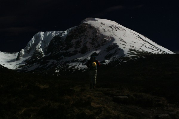 Moonlight illuminating Ben Nevis, Scotland on a midnight approach.