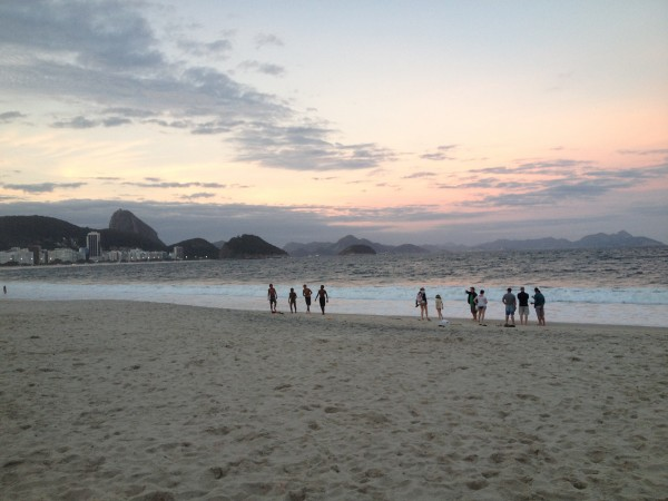 Copacabana beach at sunset, looking toward the Pao da Acucar