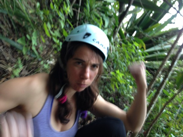 Steph crushing the jungle belay.