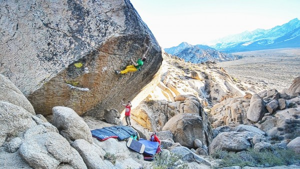Altieboo sending Luminance (V9 R/X) in the Buttermilks, Bishop, CA.
