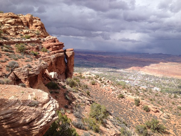 Moab from Moab rim with approaching storm 4/2/14