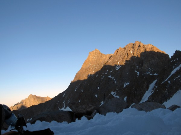 Norman Clyde Peak at sunset from out camp beneath the Palisade Crest.