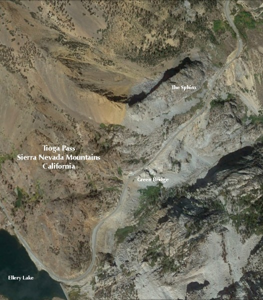 Satellite overview of The Sphinx, Tioga Pass
