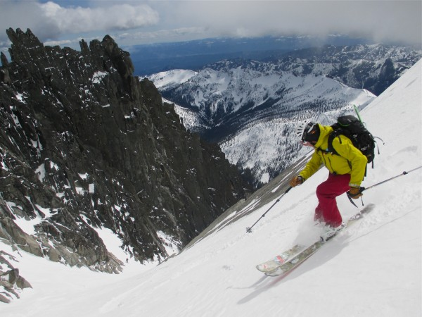 Tyree Johnson enjoying the scenery in Ulrichs Couloir, Mt Stuart