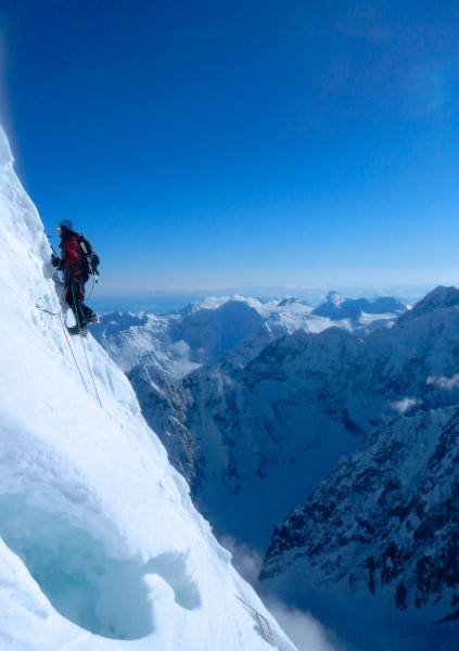 "Climbing around the 40' ""vertical or overhanging snow fluting"" which i..."