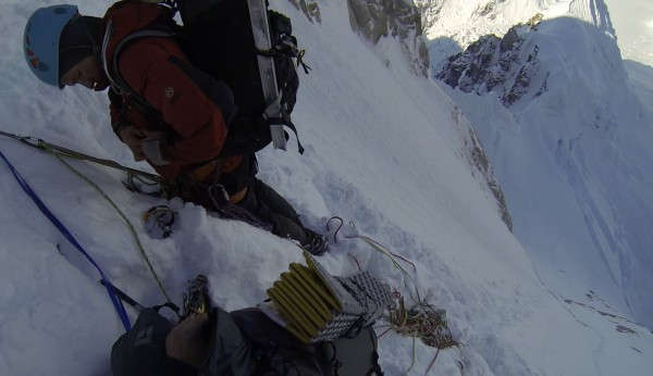 First belay below the start of the couloir