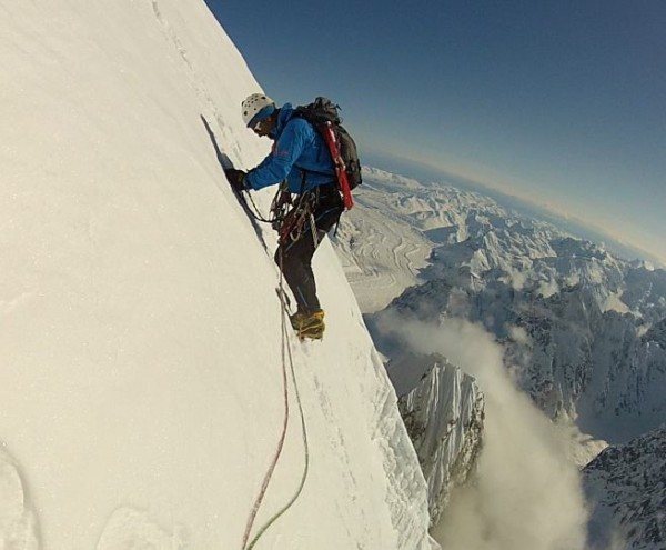 Climbing the last pitch of the summit ice field